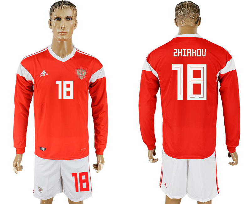 Men 2018 World Cup National Russia home Long sleeve 18 red soccer jersey