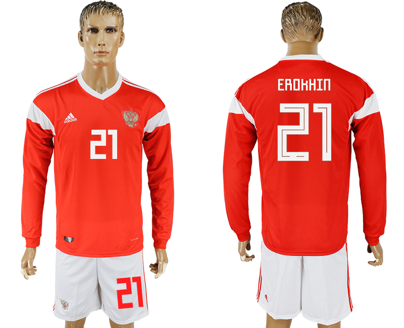 Men 2018 World Cup National Russia home Long sleeve 21 red soccer jersey