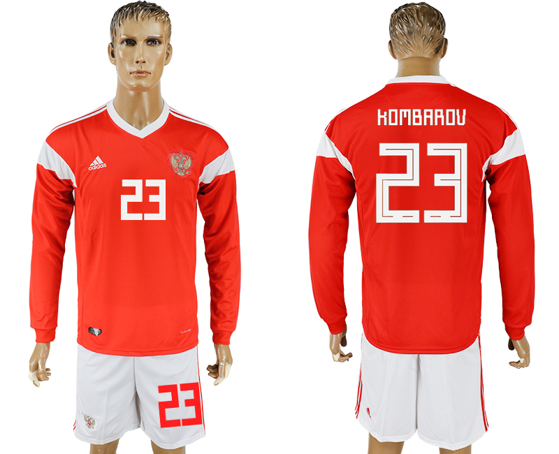 Men 2018 World Cup National Russia home Long sleeve 23 red soccer jersey