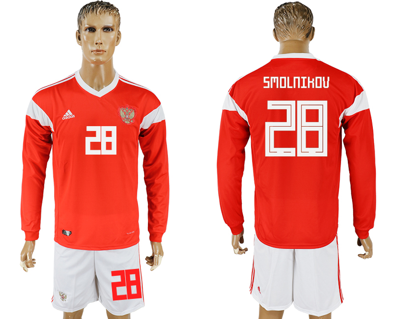 Men 2018 World Cup National Russia home Long sleeve 28 red soccer jersey