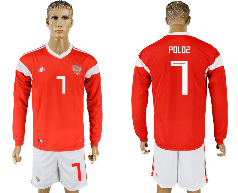 Men 2018 World Cup National Russia home Long sleeve 7 red soccer jersey