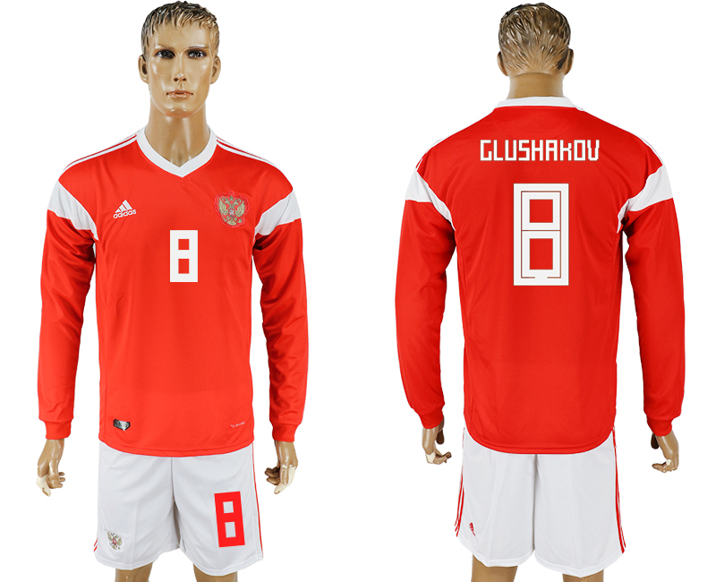 Men 2018 World Cup National Russia home Long sleeve 8 red soccer jersey
