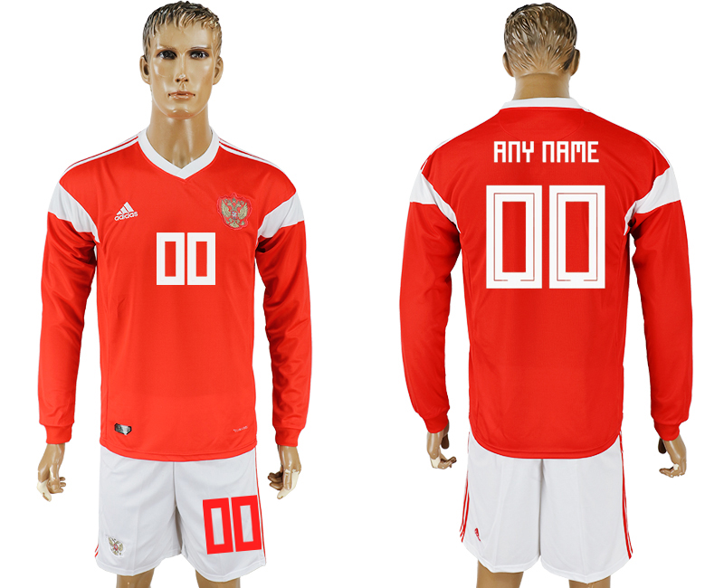 Men 2018 World Cup National Russia home Long sleeve red customized soccer jersey