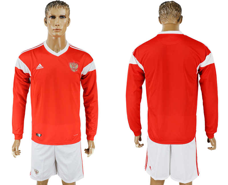 Men 2018 World Cup National Russia home Long sleeve red soccer jersey