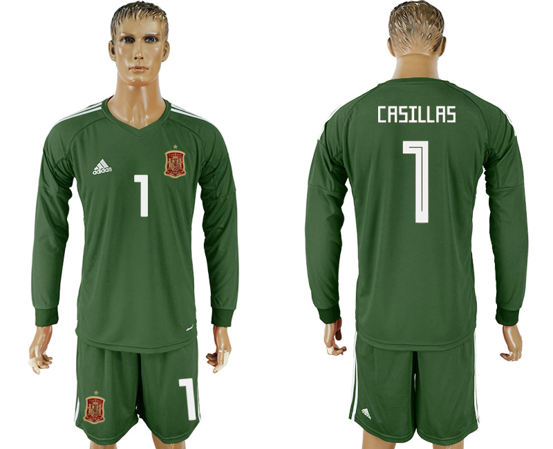Men 2018 World Cup National Spain Army green goalkeeper long sleeve 1 soccer jersey