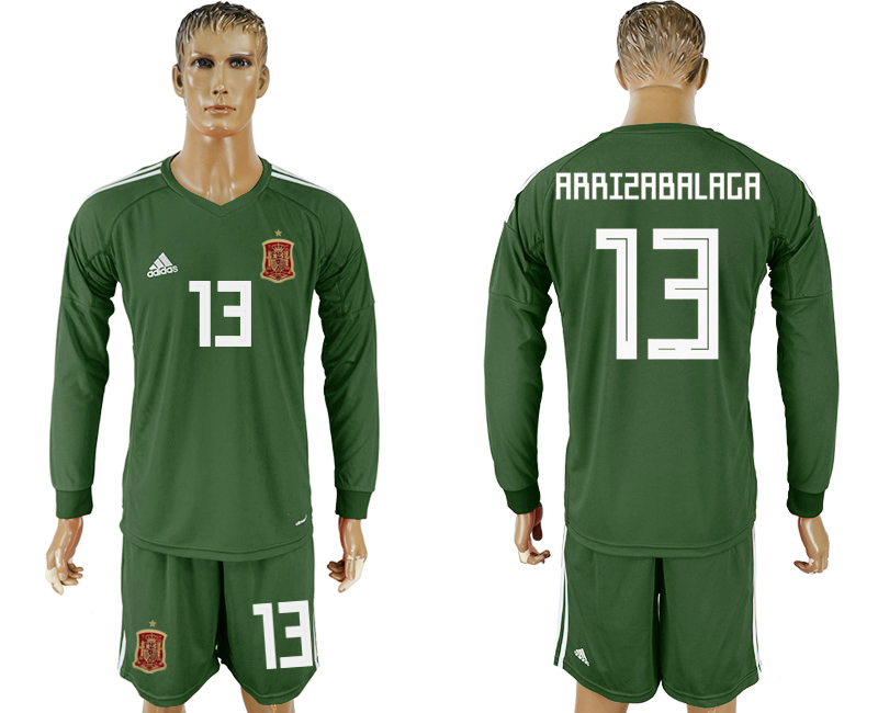 Men 2018 World Cup National Spain Army green goalkeeper long sleeve 13 soccer jersey