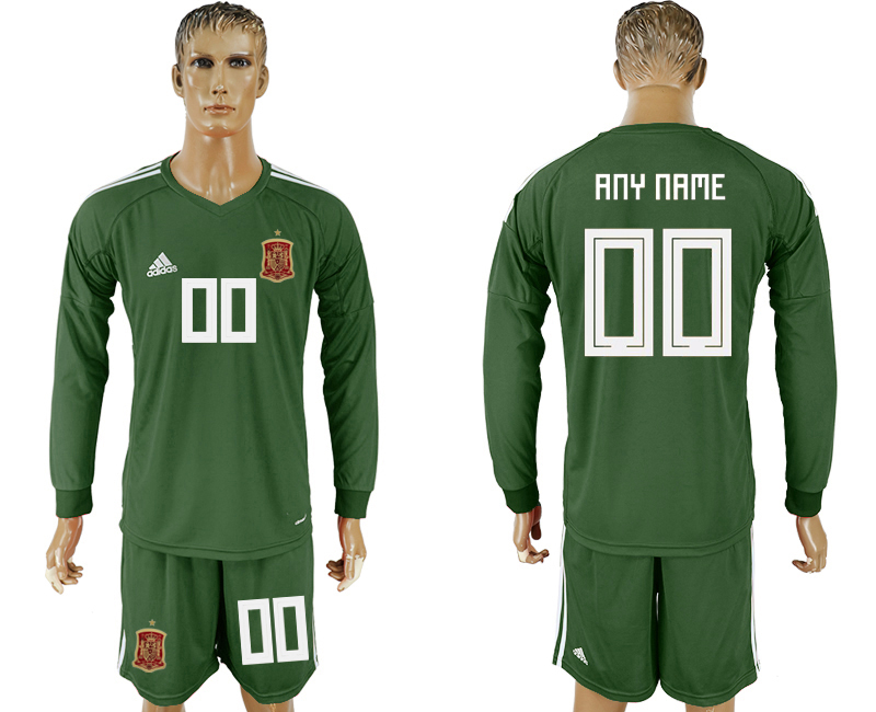 Men 2018 World Cup National Spain Army green goalkeeper long sleeve customized soccer jersey