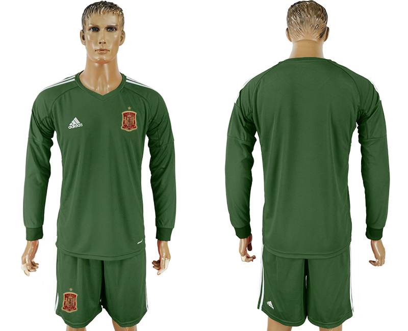 Men 2018 World Cup National Spain Army green goalkeeper long sleeve soccer jersey