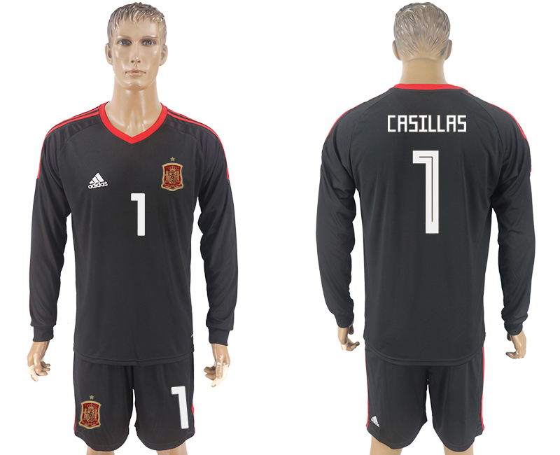 Men 2018 World Cup National Spain goalkeeper black long sleeve 1 soccer jersey