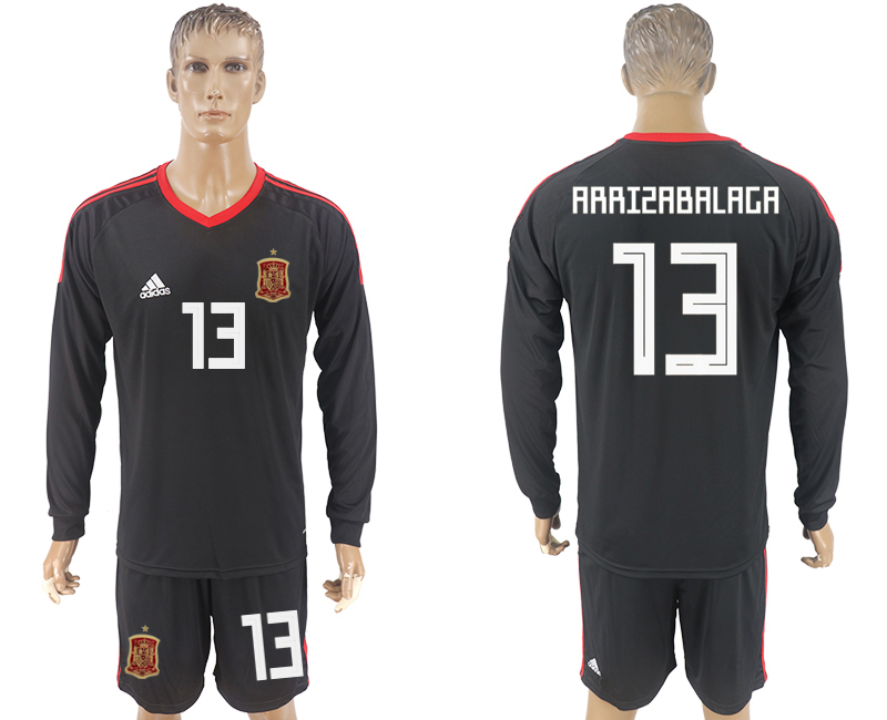 Men 2018 World Cup National Spain goalkeeper black long sleeve 13 soccer jersey