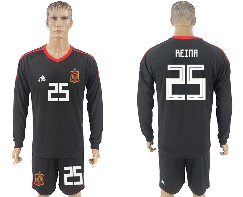 Men 2018 World Cup National Spain goalkeeper black long sleeve 25 soccer jersey