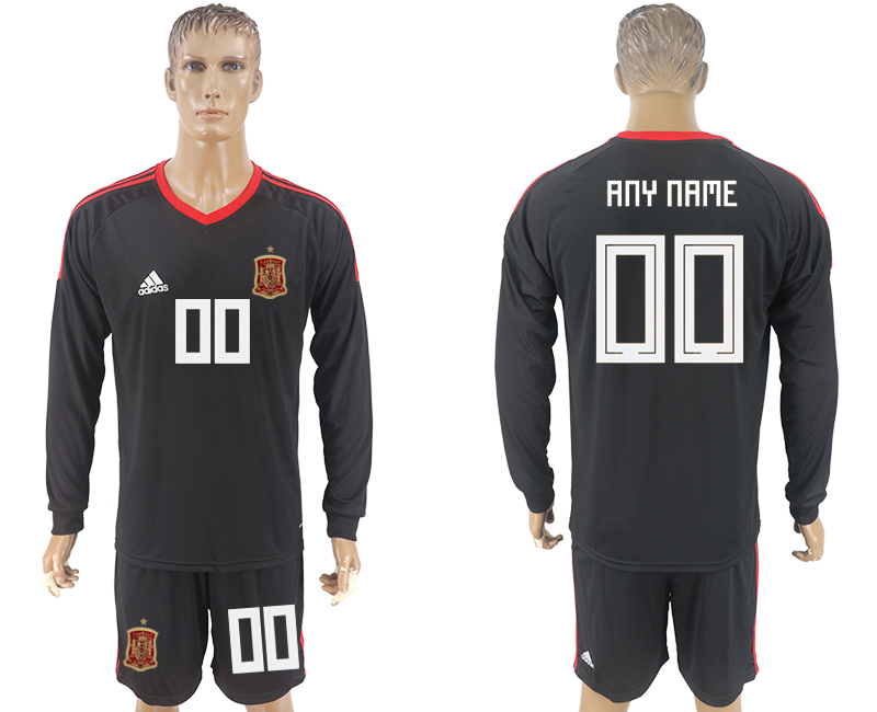 Men 2018 World Cup National Spain goalkeeper black long sleeve customized soccer jersey