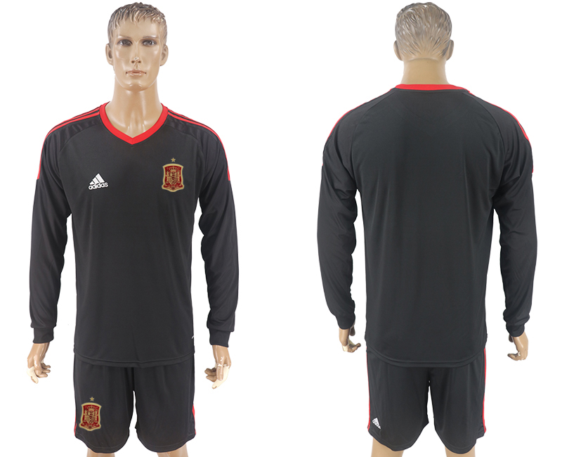Men 2018 World Cup National Spain goalkeeper black long sleeve soccer jersey