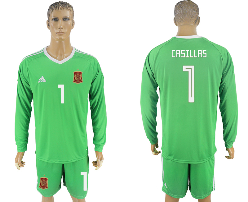 Men 2018 World Cup National Spain green goalkeeper long sleeve 1 soccer jersey1