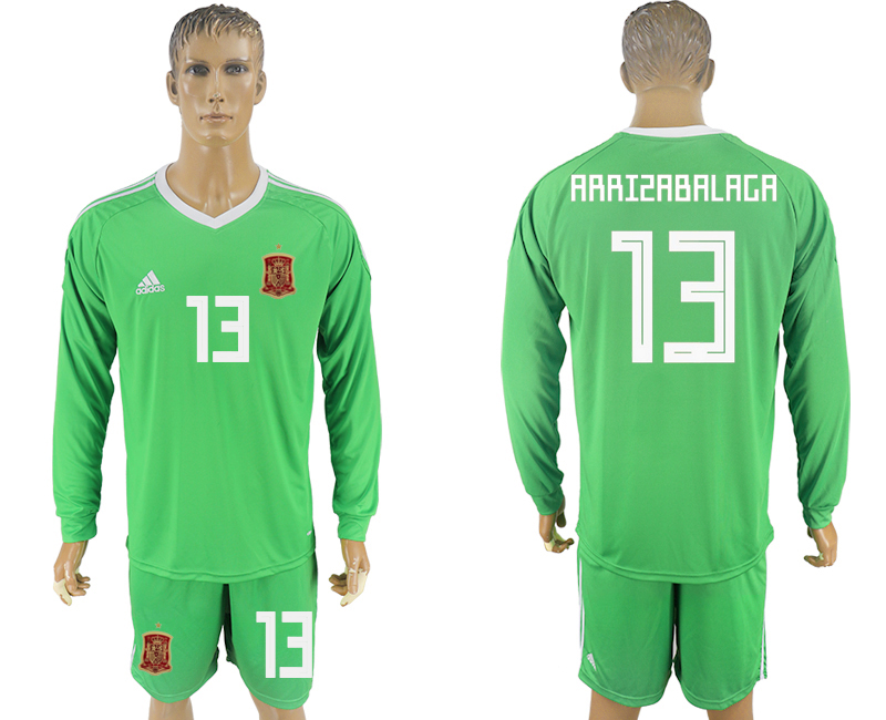 Men 2018 World Cup National Spain green goalkeeper long sleeve 13 soccer jersey