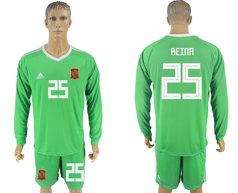 Men 2018 World Cup National Spain green goalkeeper long sleeve 25 soccer jersey