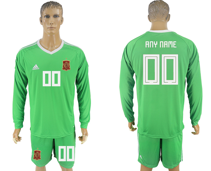 Men 2018 World Cup National Spain green goalkeeper long sleeve customized soccer jersey
