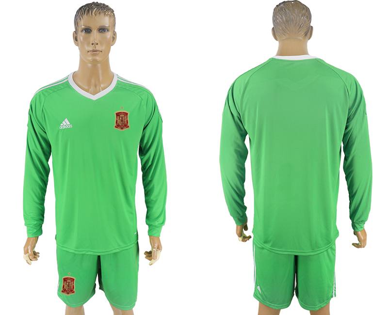 Men 2018 World Cup National Spain green goalkeeper long sleeve soccer jersey