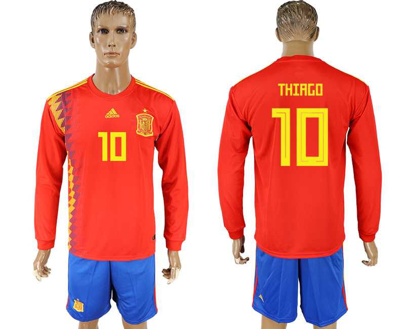 Men 2018 World Cup National Spain home Long sleeve 10 red soccer jersey1