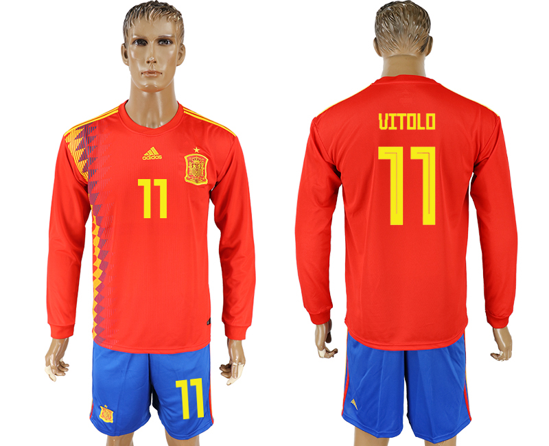 Men 2018 World Cup National Spain home Long sleeve 11 red soccer jersey