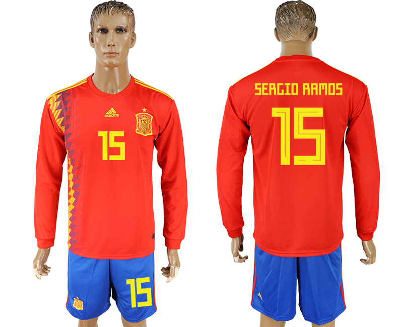 Men 2018 World Cup National Spain home Long sleeve 15 red soccer jersey