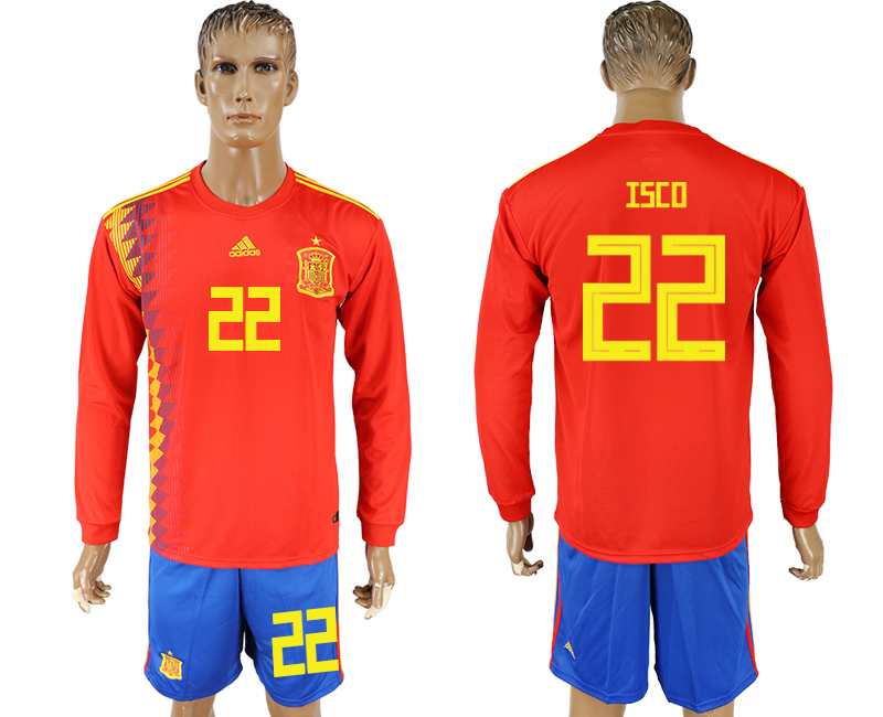 Men 2018 World Cup National Spain home Long sleeve 22 red soccer jersey