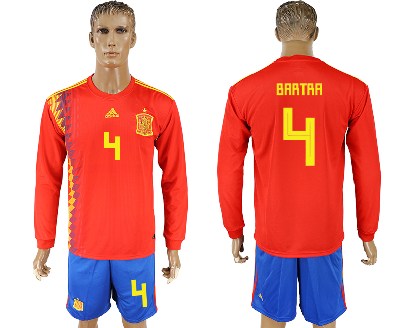 Men 2018 World Cup National Spain home Long sleeve 4 red soccer jersey