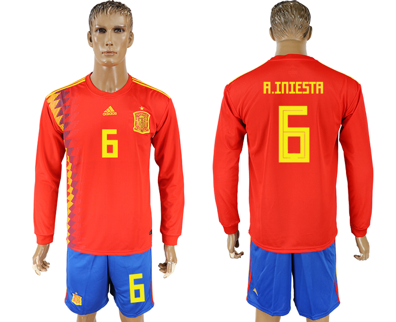 Men 2018 World Cup National Spain home Long sleeve 6 red soccer jersey