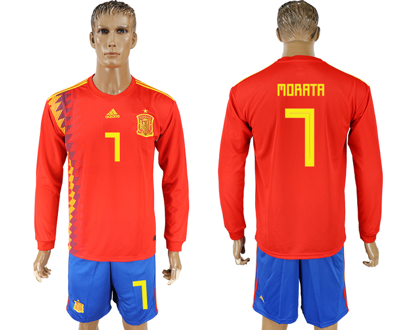Men 2018 World Cup National Spain home Long sleeve 7 red soccer jersey