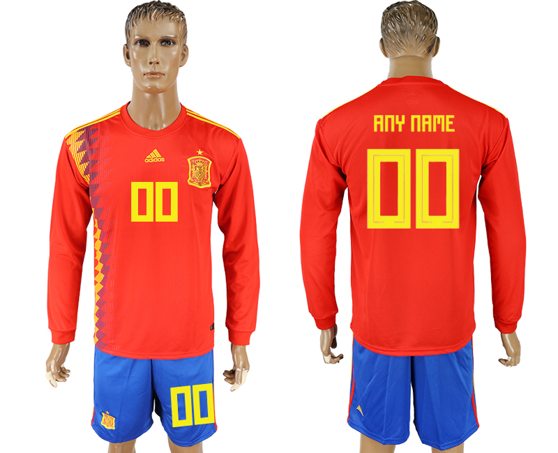 Men 2018 World Cup National Spain home Long sleeve red customized soccer jersey