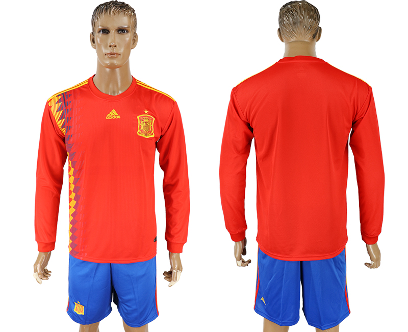 Men 2018 World Cup National Spain home Long sleeve red soccer jersey