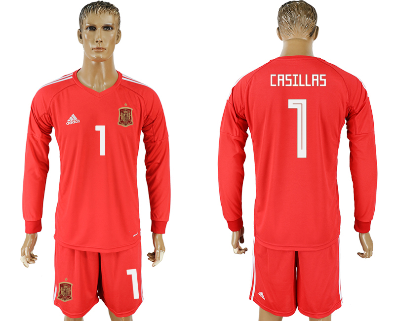 Men 2018 World Cup National Spain red goalkeeper long sleeve 1 soccer jersey