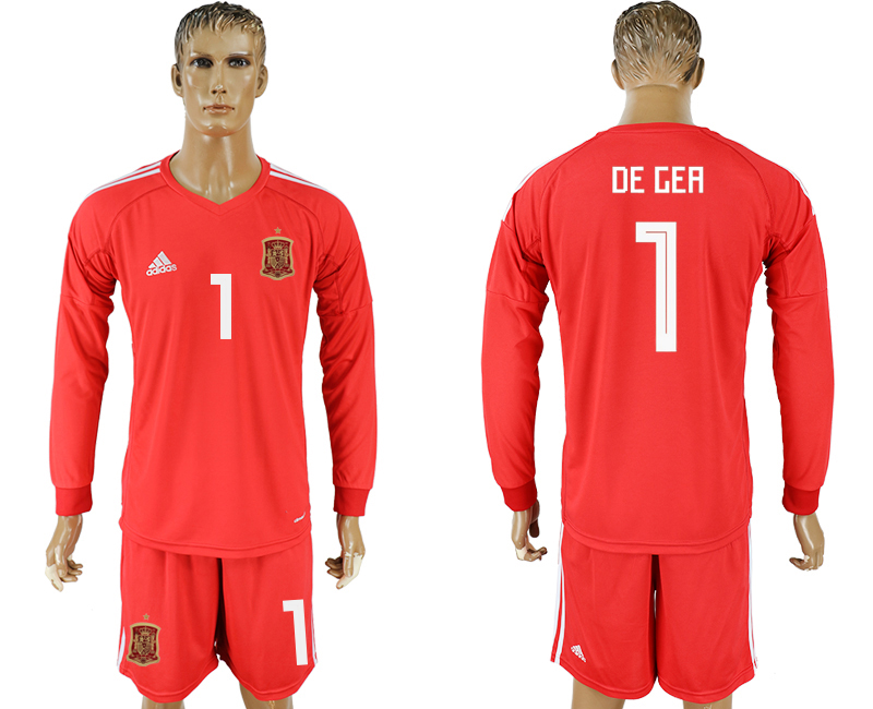 Men 2018 World Cup National Spain red goalkeeper long sleeve 1 soccer jersey1