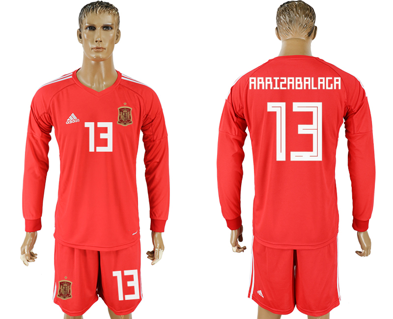Men 2018 World Cup National Spain red goalkeeper long sleeve 13 soccer jersey