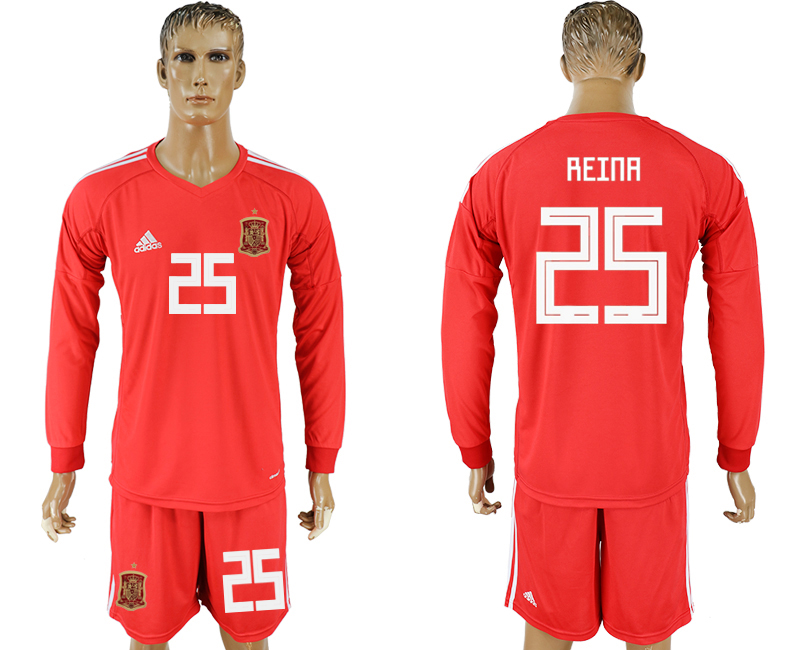 Men 2018 World Cup National Spain red goalkeeper long sleeve 25 soccer jersey