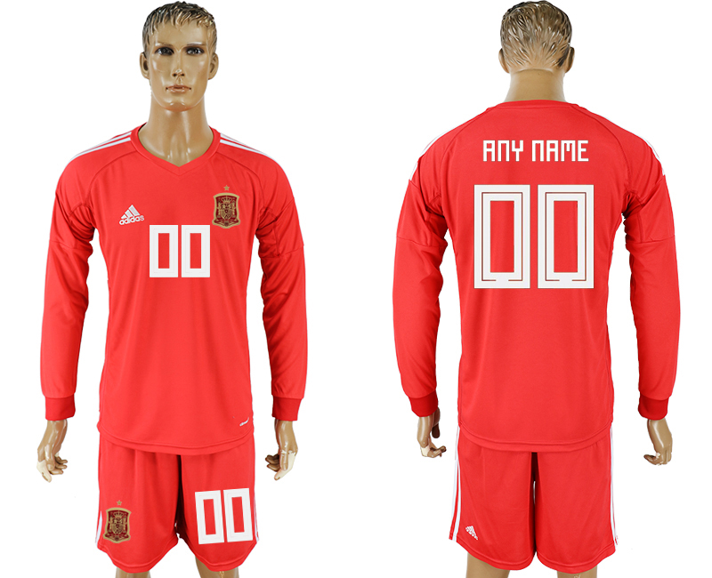 Men 2018 World Cup National Spain red goalkeeper long sleeve customized soccer jersey