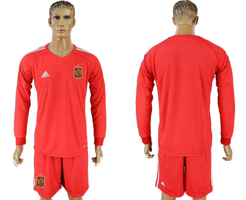 Men 2018 World Cup National Spain red goalkeeper long sleeve soccer jersey