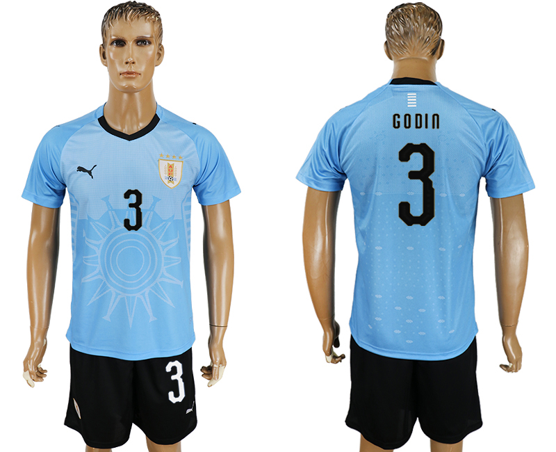 Men 2018 World Cup National Uruguay home 3 blue soccer jersey