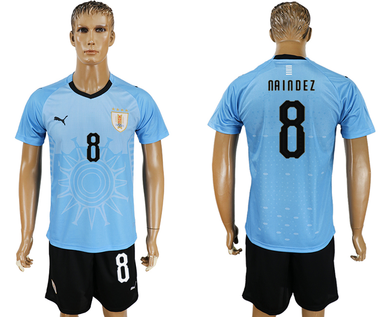 Men 2018 World Cup National Uruguay home 8 blue soccer jersey