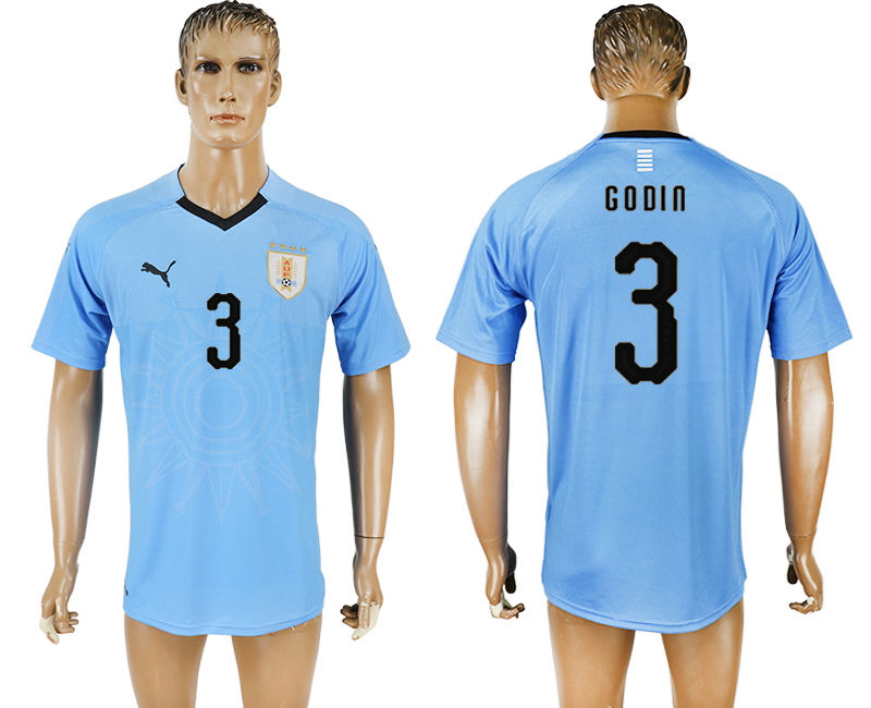 Men 2018 World Cup National Uruguay home aaa version 3 blue soccer jersey