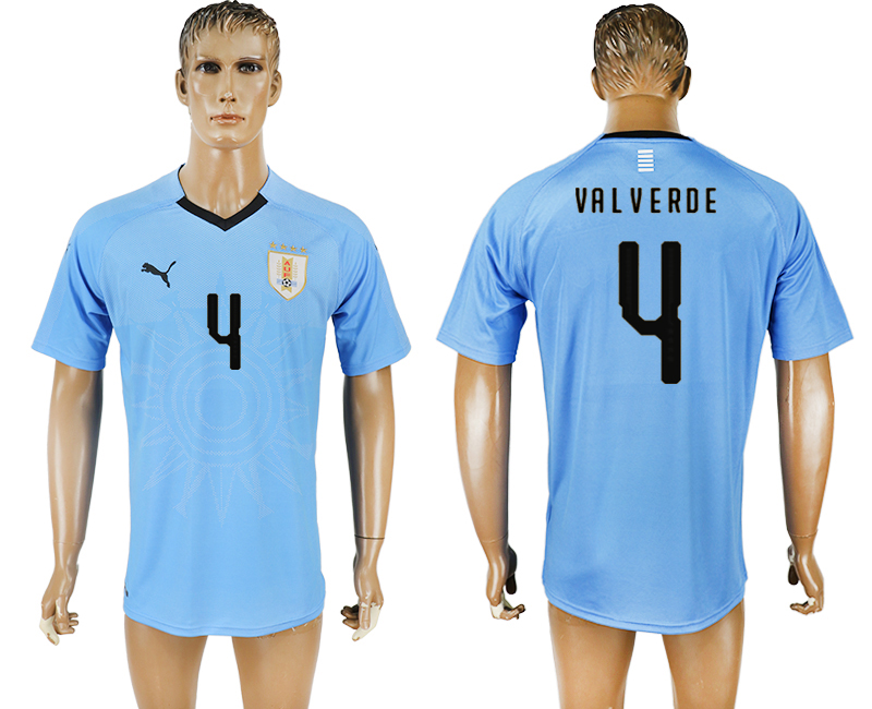 Men 2018 World Cup National Uruguay home aaa version 4 blue soccer jersey