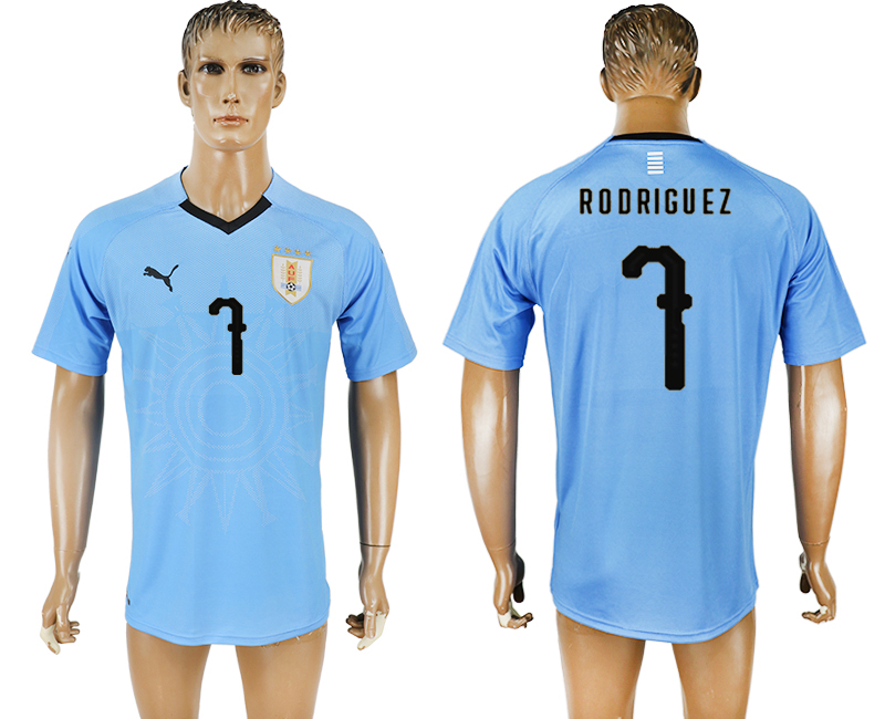 Men 2018 World Cup National Uruguay home aaa version 7 blue soccer jersey