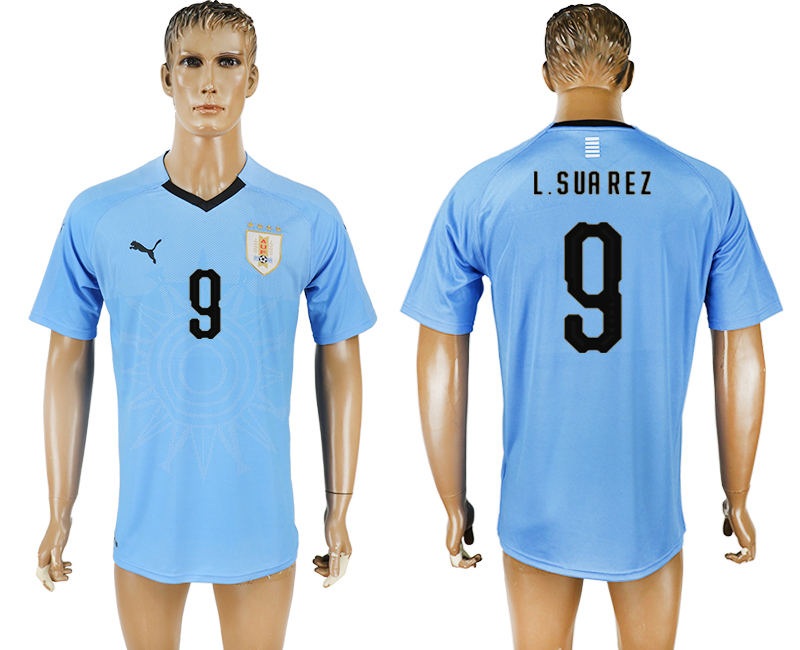 Men 2018 World Cup National Uruguay home aaa version 9 blue soccer jersey