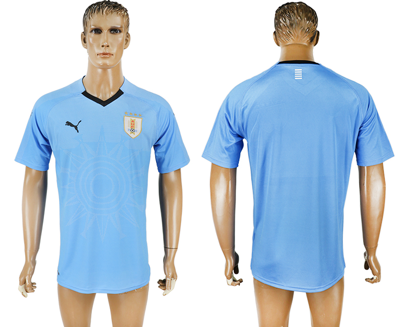 Men 2018 World Cup National Uruguay home aaa version blue soccer jersey