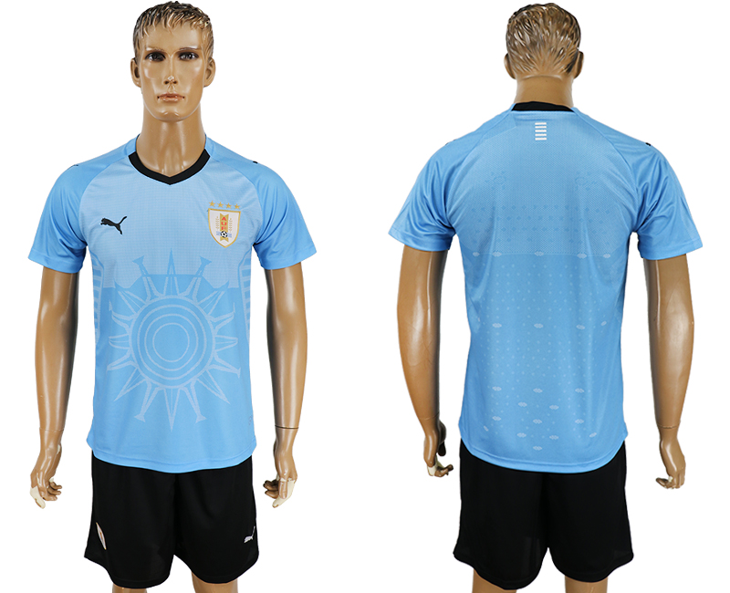 Men 2018 World Cup National Uruguay home blank blue soccer jersey