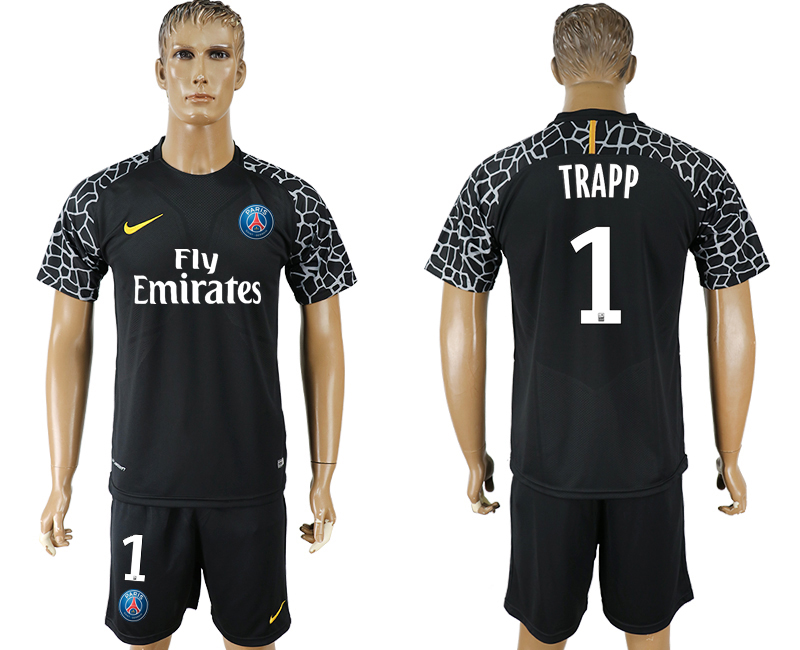 Men 2018 World Cup Paris saint germain black goalkeeper 1 soccer jersey