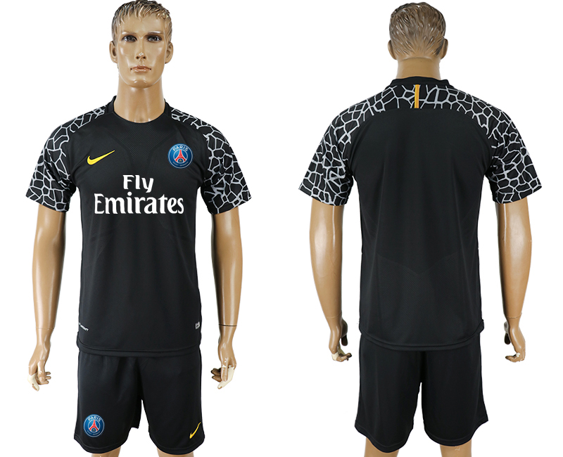 Men 2018 World Cup Paris saint germain black goalkeeper soccer jersey
