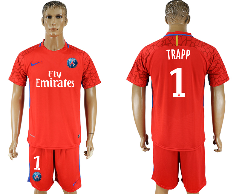Men 2018 World Cup Paris saint germain red goalkeeper 1 soccer jersey