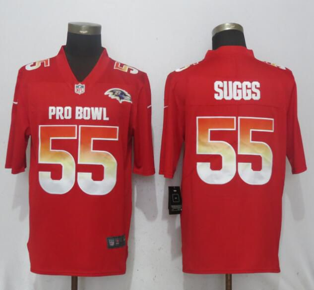 Men Baltimore Ravens 55 Suggs Red New Nike Royal 2018 Pro Bowl Limited NFL Jerseys