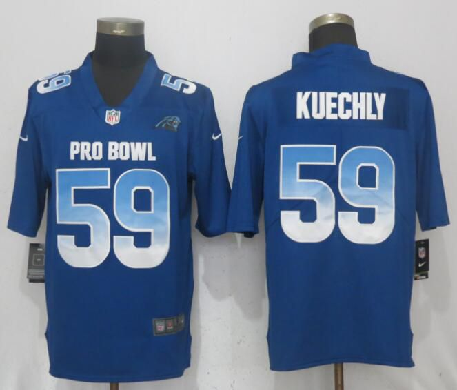 Men Carolina Panthers 59 Kuechly Blue New Nike Royal 2018 Pro Bowl Limited NFL Jerseys